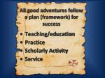 all good adventures follow a plan framework for success