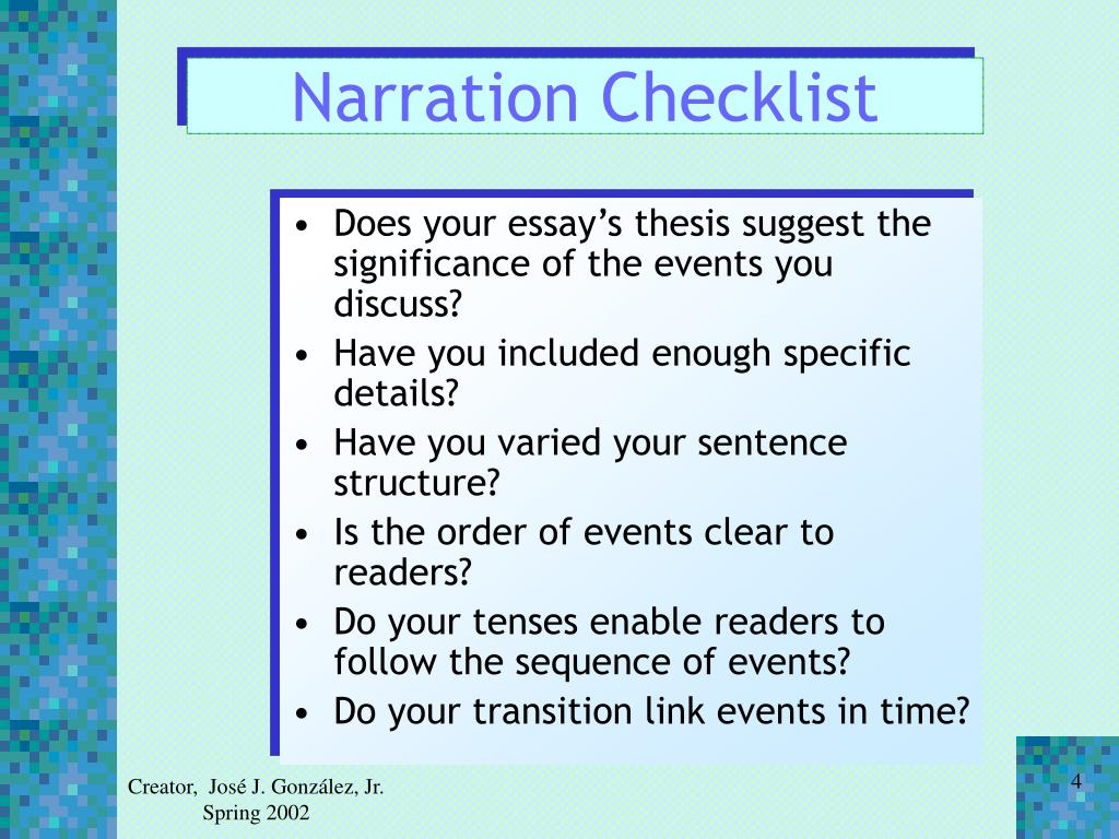 Narration Checklist
