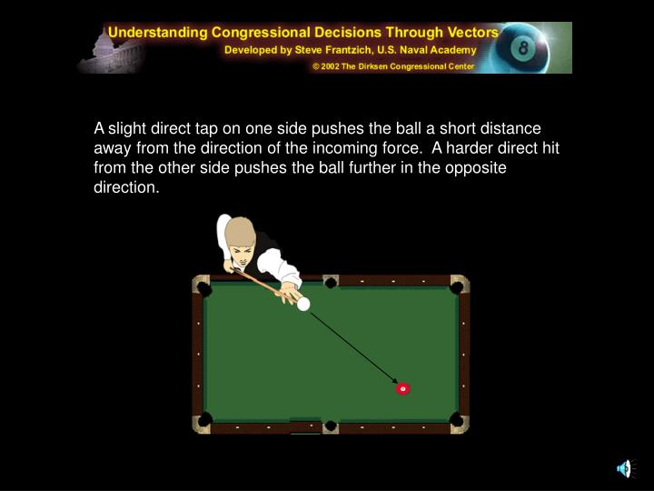A slight direct tap on one side pushes the ball a short distance away from the direction of the incoming force.  A harder direct hit from the other side pushes the ball further in the opposite direction.
