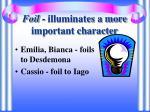 foil illuminates a more important character