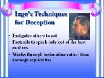 iago s techniques for deception