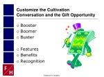 customize the cultivation conversation and the gift opportunity