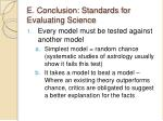 e conclusion standards for evaluating science