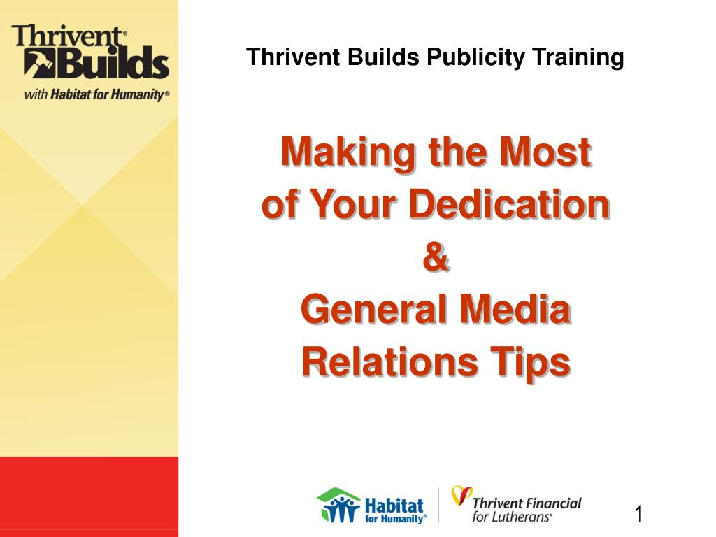 thrivent builds publicity training l.