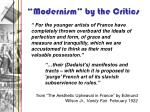 modernism by the critics