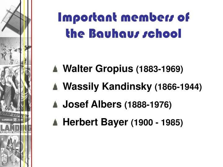 Important members of the Bauhaus school