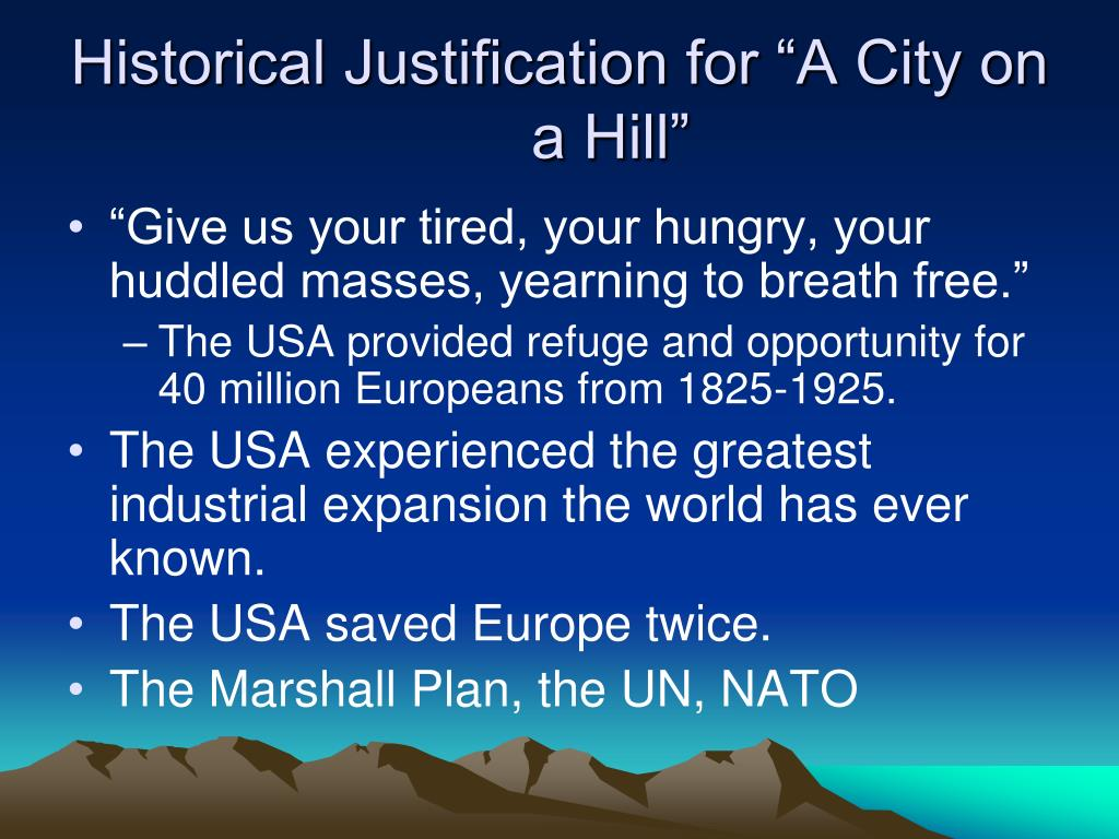 "Historical Justification for ""A City on a Hill"""