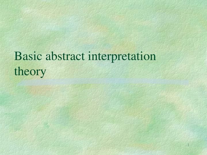 basic abstract interpretation theory n.