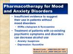 pharmacotherapy for mood and anxiety disorders
