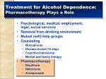 treatment for alcohol dependence pharmacotherapy plays a role