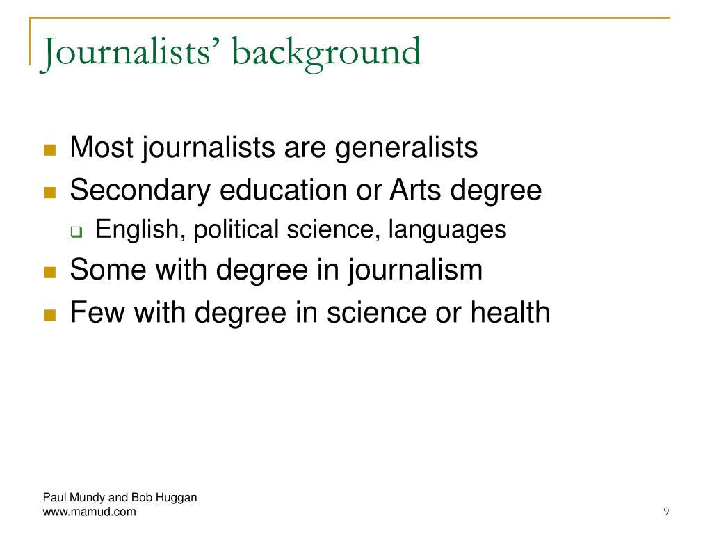 Journalists' background