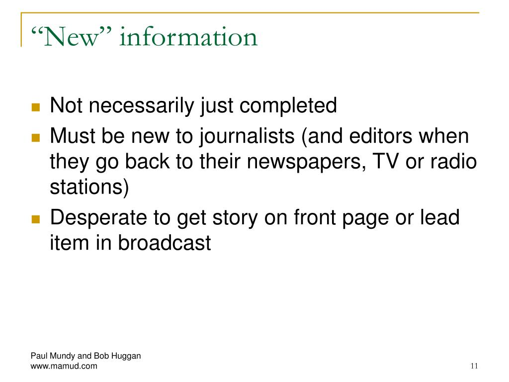 """New"" information"