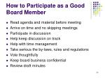 how to participate as a good board member