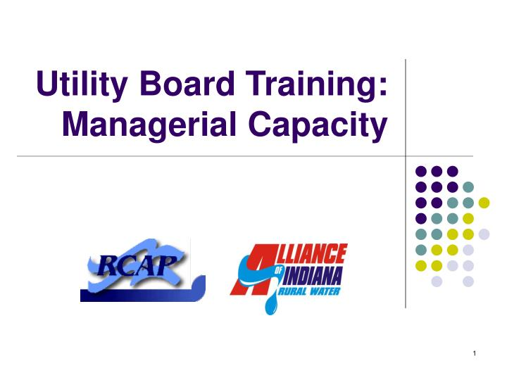 utility board training managerial capacity n.