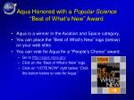 aqua honored with a popular science best of what s new award