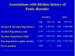 associations with lifetime history of panic disorder1