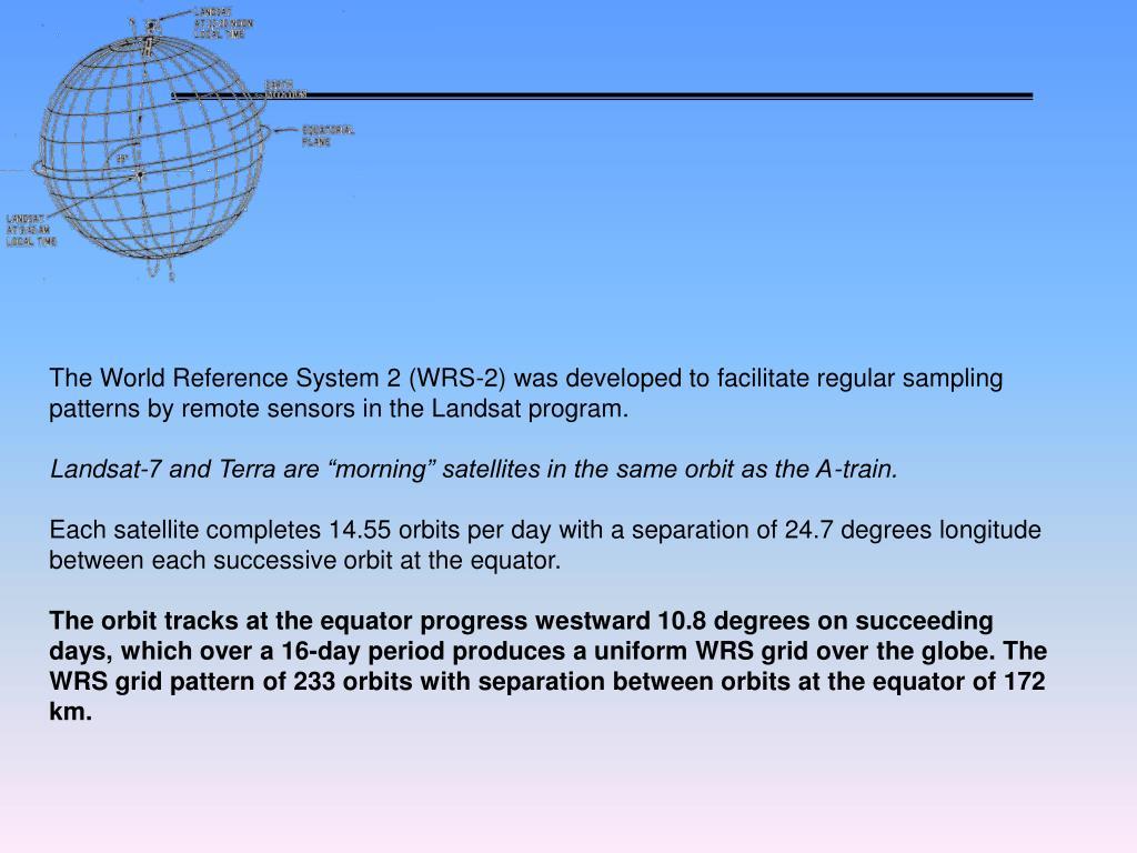 The World Reference System 2 (WRS-2) was developed to facilitate regular sampling patterns by remote sensors in the Landsat program.