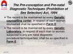 the pre conception and pre natal diagnostic techniques prohibition of sex selection act 199418