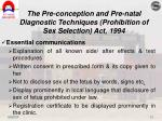 the pre conception and pre natal diagnostic techniques prohibition of sex selection act 19944