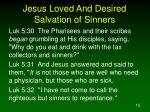 jesus loved and desired salvation of sinners1