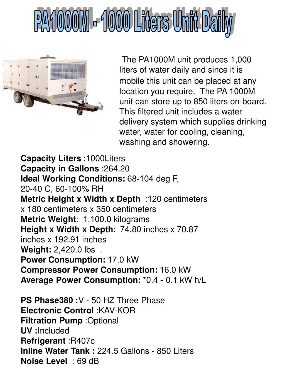 PA1000M - 1000 Liters Unit Daily