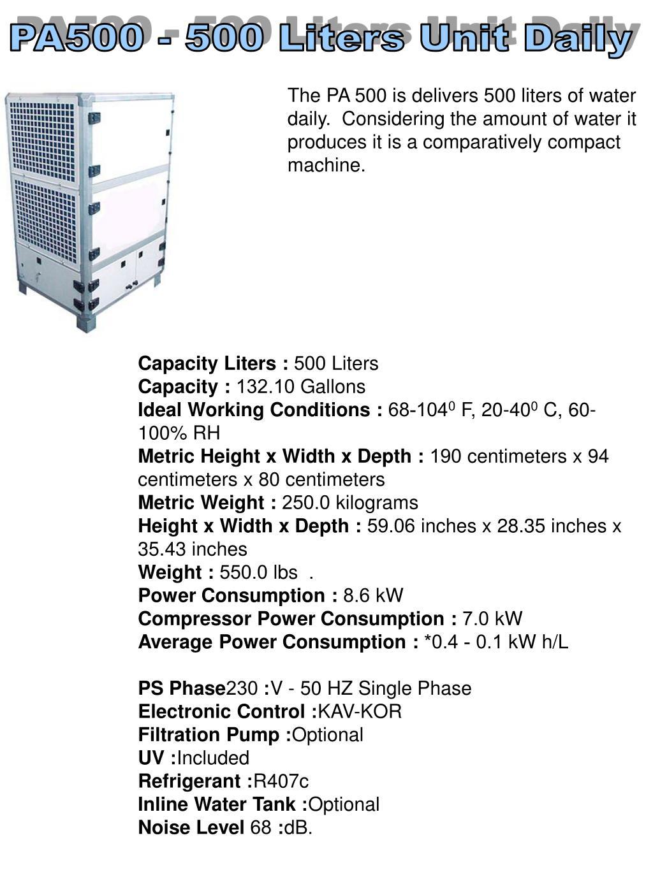 PA500 - 500 Liters Unit Daily