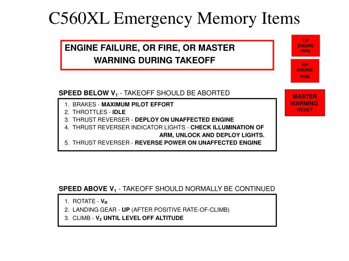 c560xl emergency memory items n.