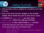 adding textfields