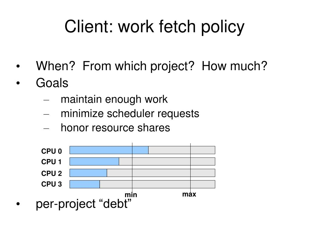 Client: work fetch policy