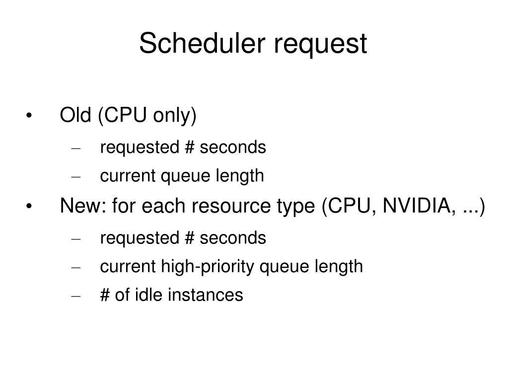 Scheduler request