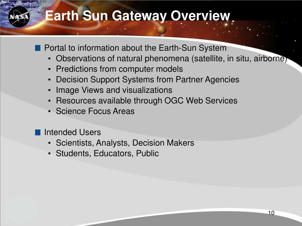 Earth Sun Gateway Overview