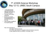 7 th jcsda science workshop may 12 13 umbc south campus