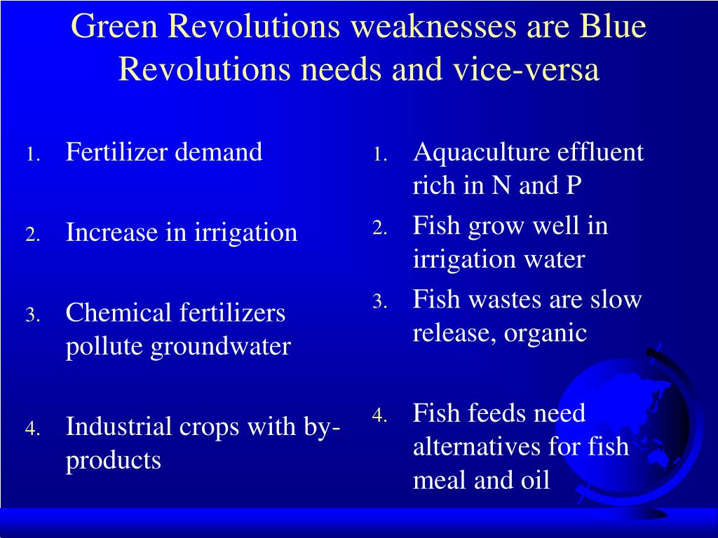 Green Revolutions weaknesses are Blue Revolutions needs and vice-versa
