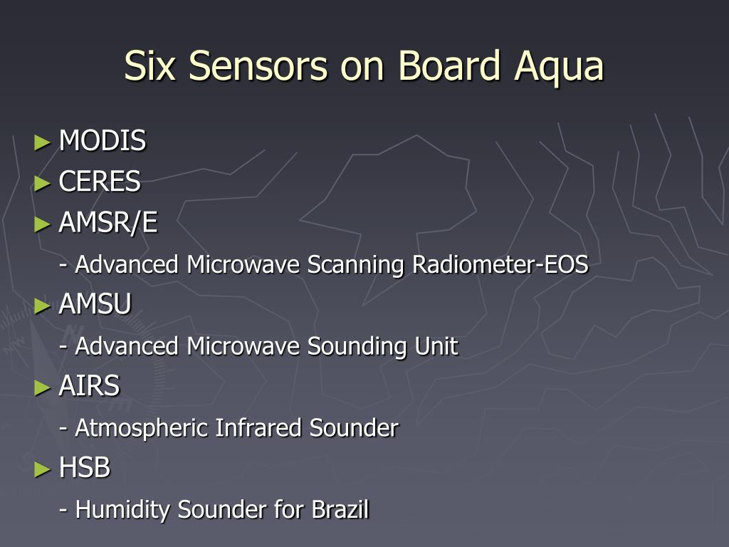 Six Sensors on Board Aqua