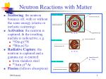 neutron reactions with matter