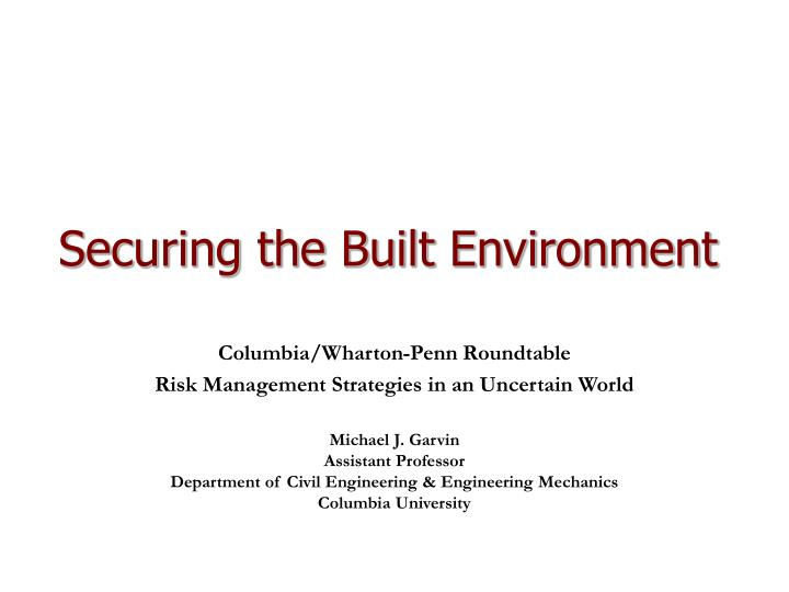 securing the built environment n.