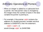 arithmetic operations on pointers