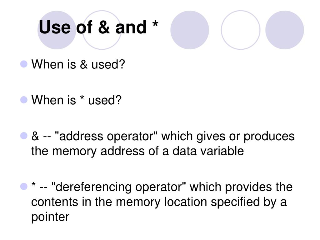 Use of & and *
