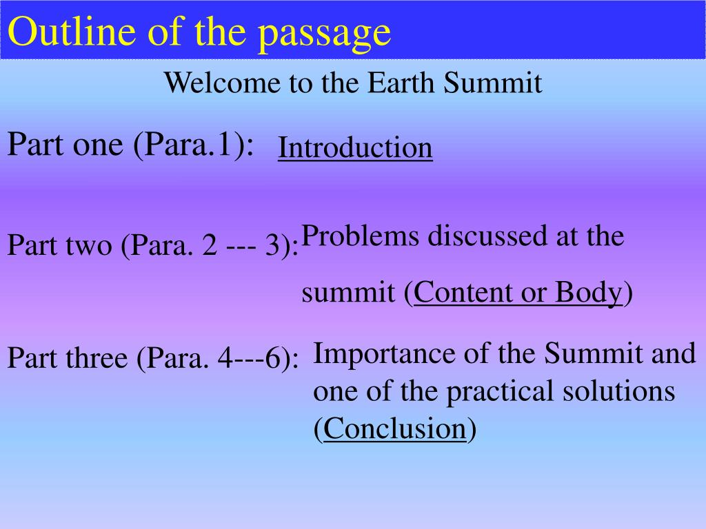 Outline of the passage