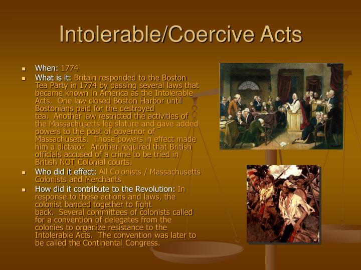 Intolerable/Coercive Acts