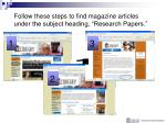 follow these steps to find magazine articles under the subject heading research papers