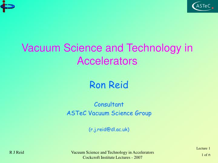 vacuum science and technology in accelerators n.