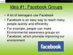 idea 1 facebook groups