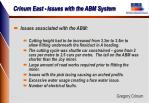crinum east issues with the abm system1