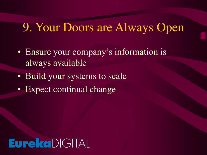 9. Your Doors are Always Open
