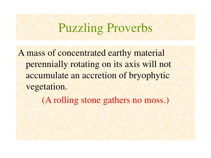 puzzling proverbs n.