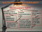 how did hitler rebuild popularity of nazi party