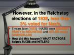 however in the reichstag elections of 1928 less than 3 voted for nazis