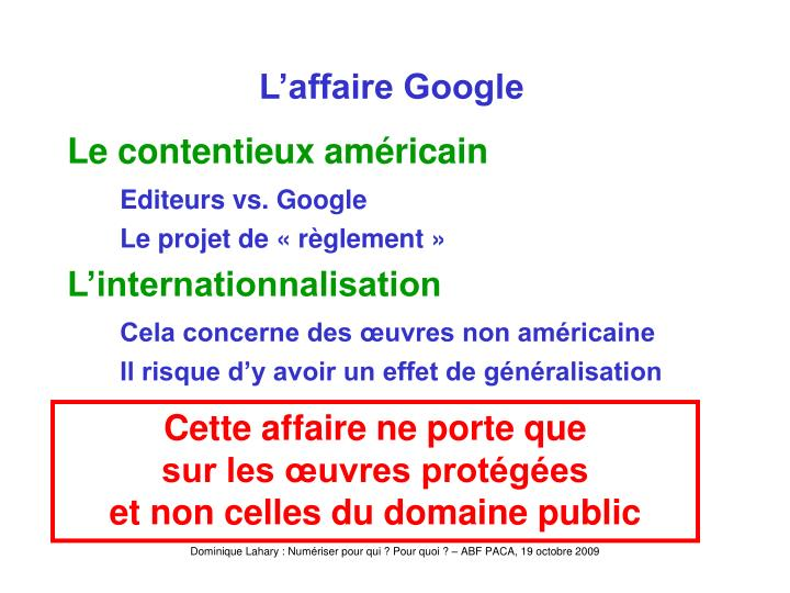 L'affaire Google