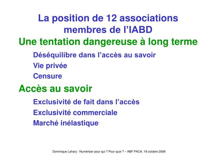 La position de 12 associations